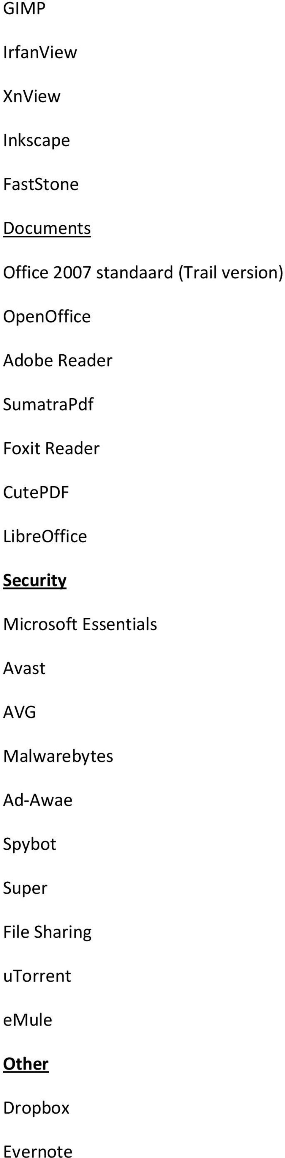 Reader CutePDF LibreOffice Security Microsoft Essentials Avast AVG