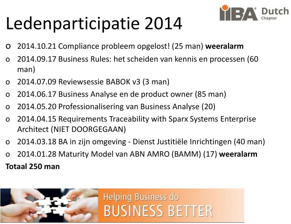 17 Business Analyse en de product owner (85 man) o 2014.05.20 Professionalisering van Business Analyse (20) o 2014.04.