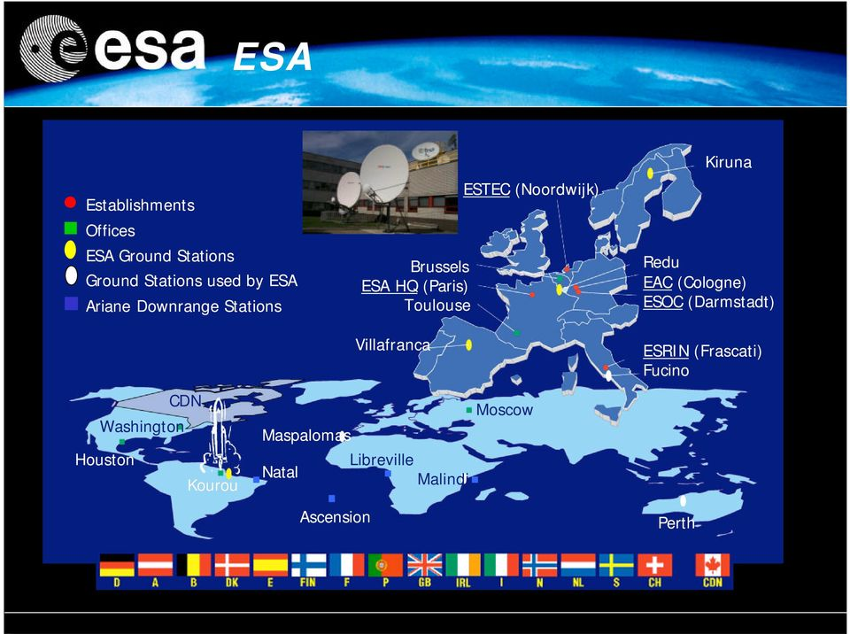 Kiruna Redu EAC (Cologne) ESOC (Darmstadt) Washington Houston CDN Kourou