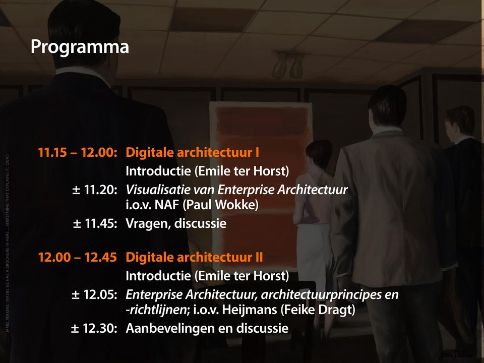 45: Vragen, discussie 12.00 12.45 Digitale architectuur II Introductie (Emile ter Horst) ± 12.