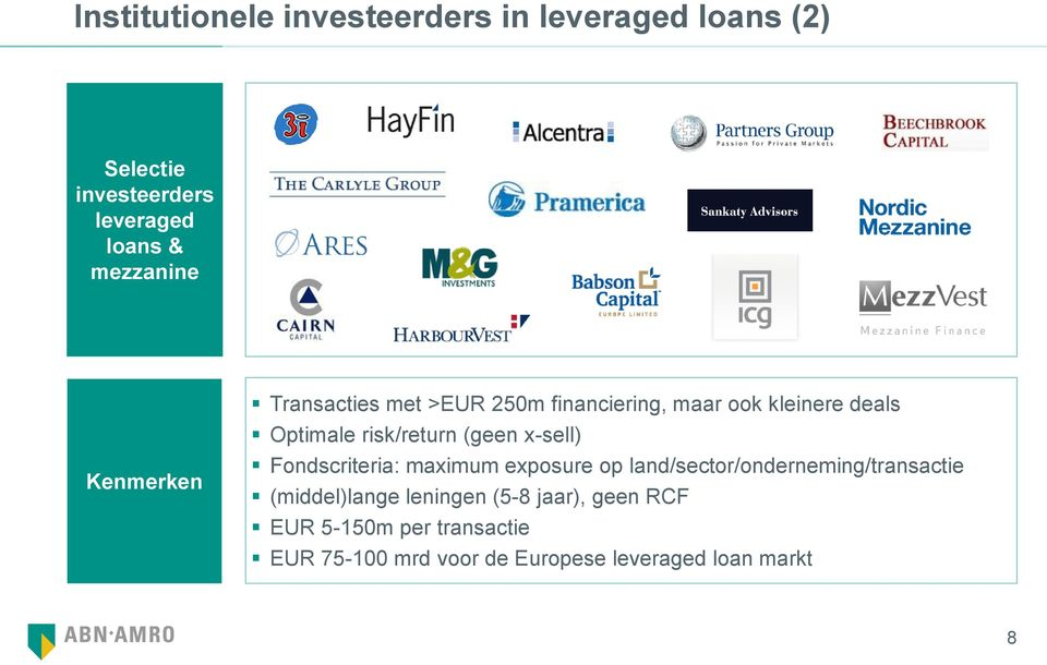 risk/return (geen x-sell) Fondscriteria: maximum exposure op land/sector/onderneming/transactie
