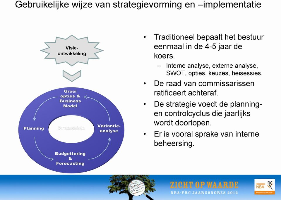 Interne analyse, externe analyse, SWOT, opties, keuzes, heisessies.