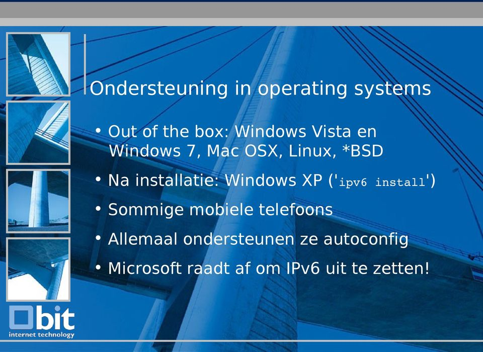 Windows XP ('ipv6 install') Sommige mobiele telefoons