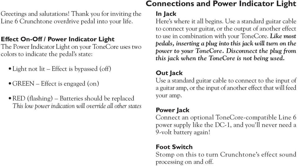 (flashing) Batteries should be replaced This low power indication will override all other states Connections and Power Indicator Light In Jack Here s where it all begins.