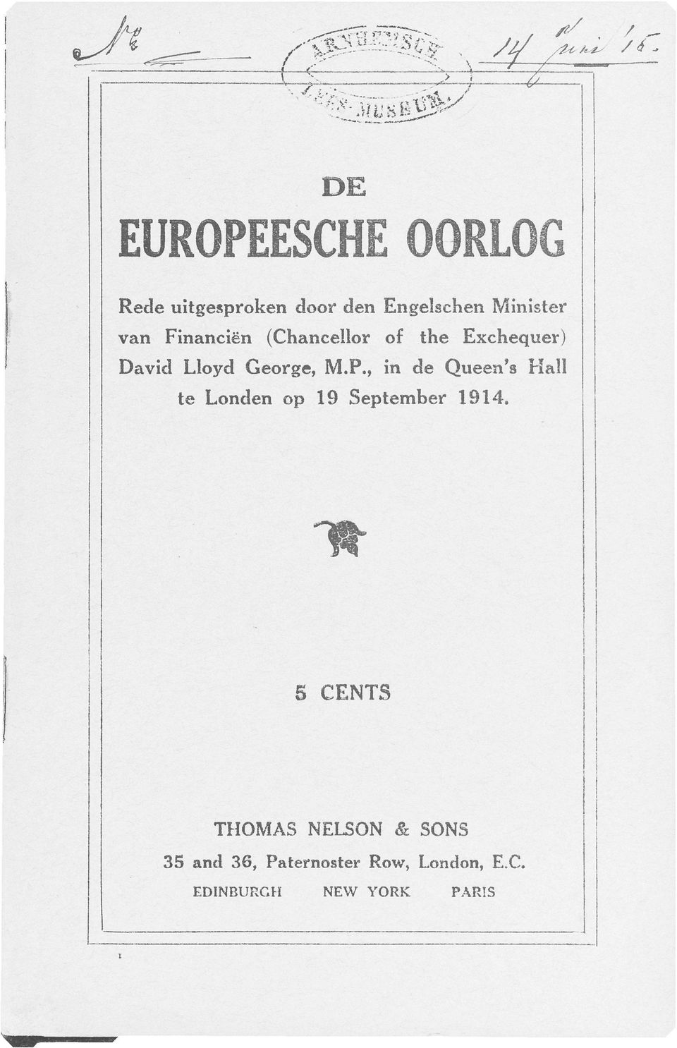 , in de Queen's Hall te Londen op 19 September 1914.