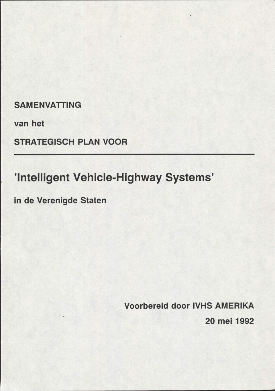 Vehicle-Highway Systems' in de