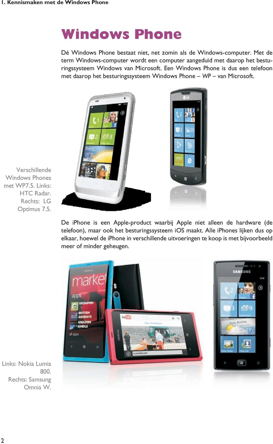 Een Windows Phone is dus een telefoon met daarop het besturingssysteem Windows Phone WP van Microsoft. Verschillende Windows Phones met WP7.5. Links: HTC Radar.