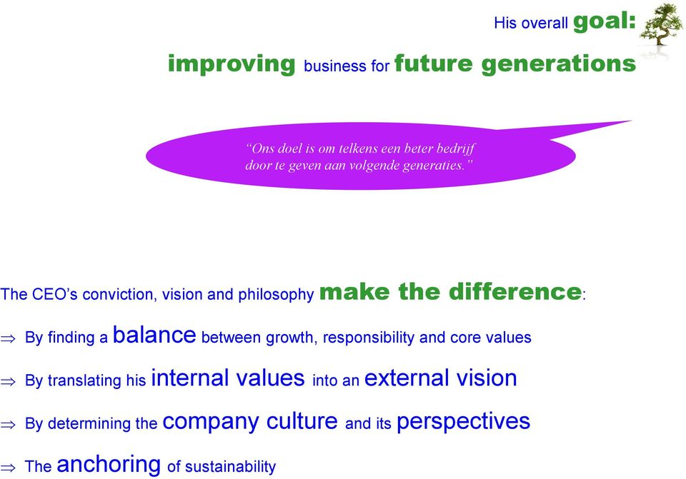The CEO s conviction, vision and philosophy make the difference: By finding a balance between growth,