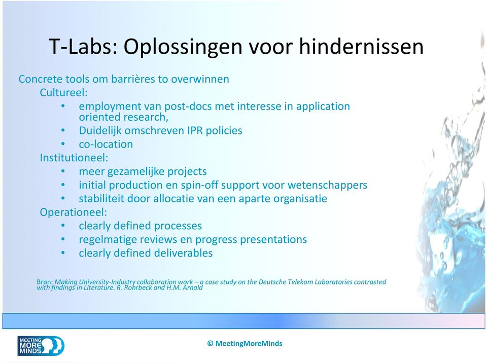 stabiliteit door allocatie van een aparte organisatie Operationeel: clearly defined processes regelmatige reviews en progress presentations clearly defined