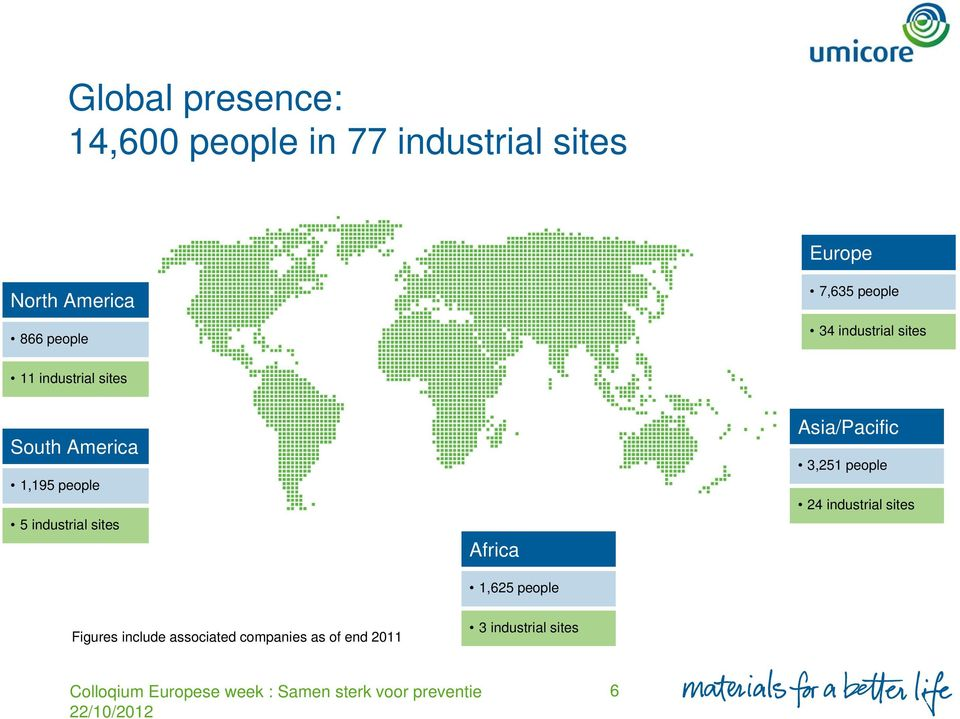 people 5 industrial sites Africa 1,625 people Asia/Pacific 3,251 people 24