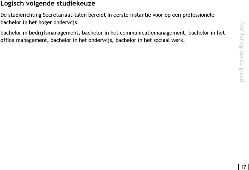 bedrijfsmanagement, bachelor in het communicatiemanagement, bachelor in