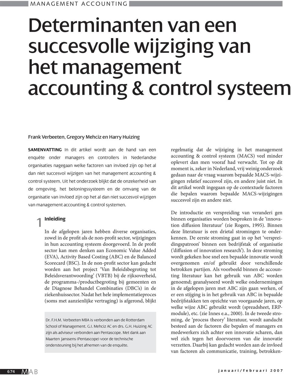 accounting & control systeem.