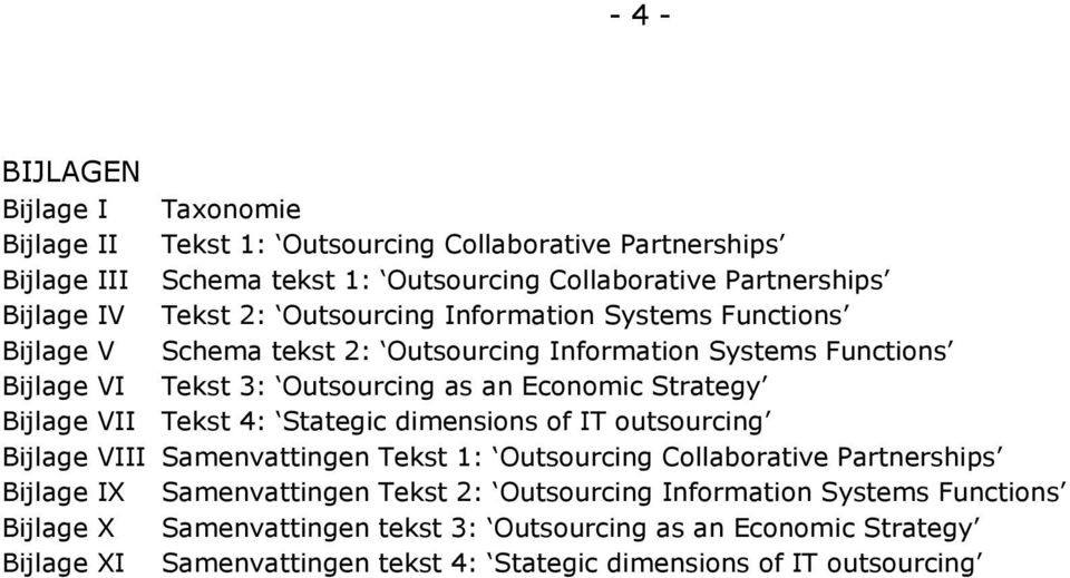 Bijlage VII Tekst 4: Stategic dimensions of IT outsourcing Bijlage VIII Samenvattingen Tekst 1: Outsourcing Collaborative Partnerships Bijlage IX Samenvattingen Tekst 2: