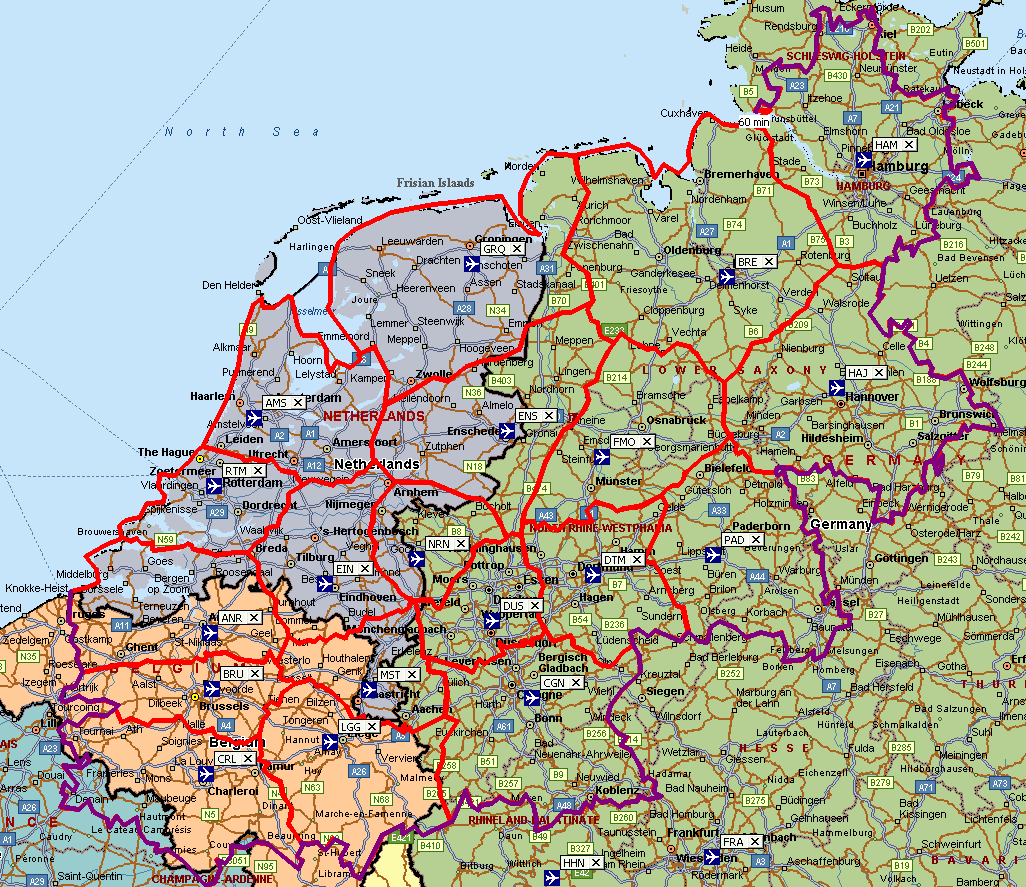 catchment areas in the way in which Dutch and German population data is available.