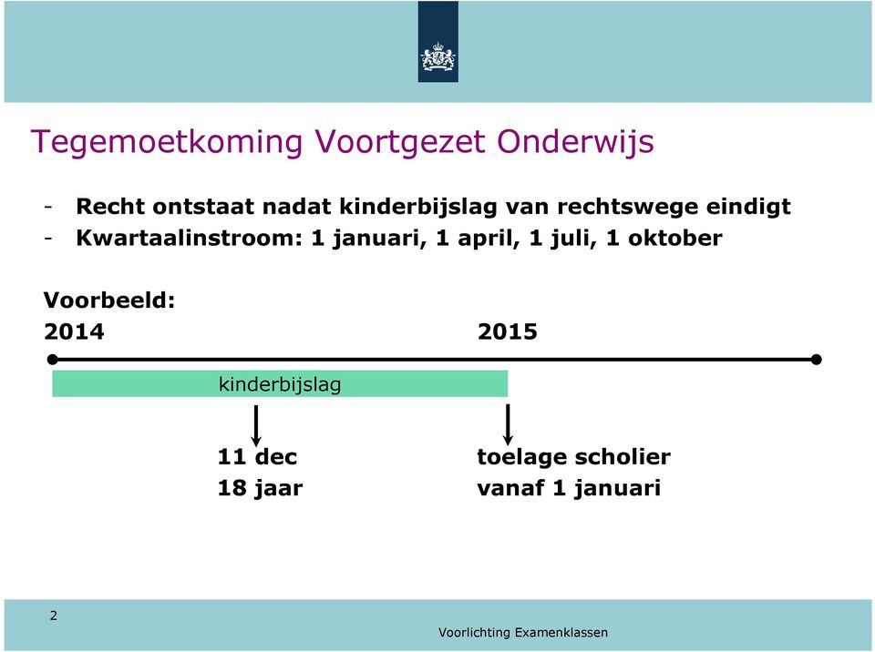 januari, 1 april, 1 juli, 1 oktober Voorbeeld: 2014 2015