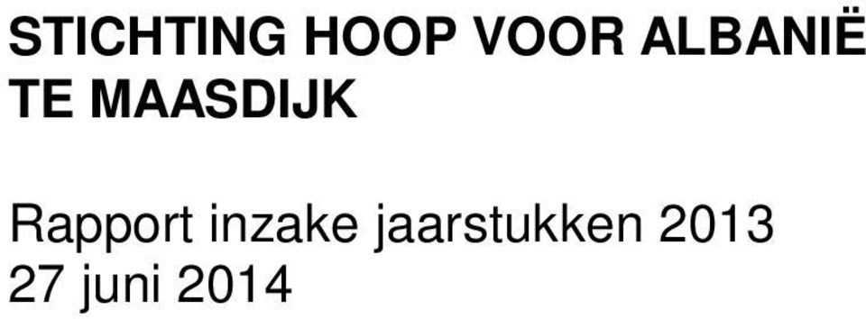 Rapport inzake
