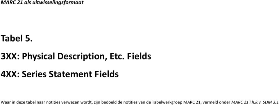 Fields 4XX: eries tatement Fields Waar in deze tabel
