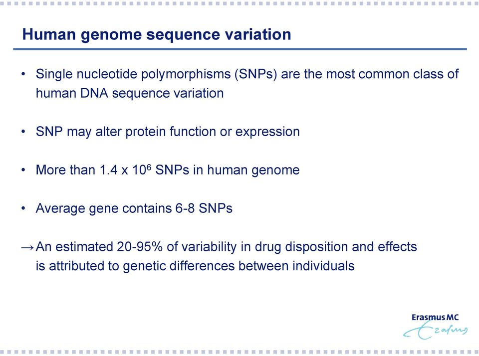 1.4 x 10 6 SNPs in human genome Average gene contains 6-8 SNPs An estimated 20-95% of