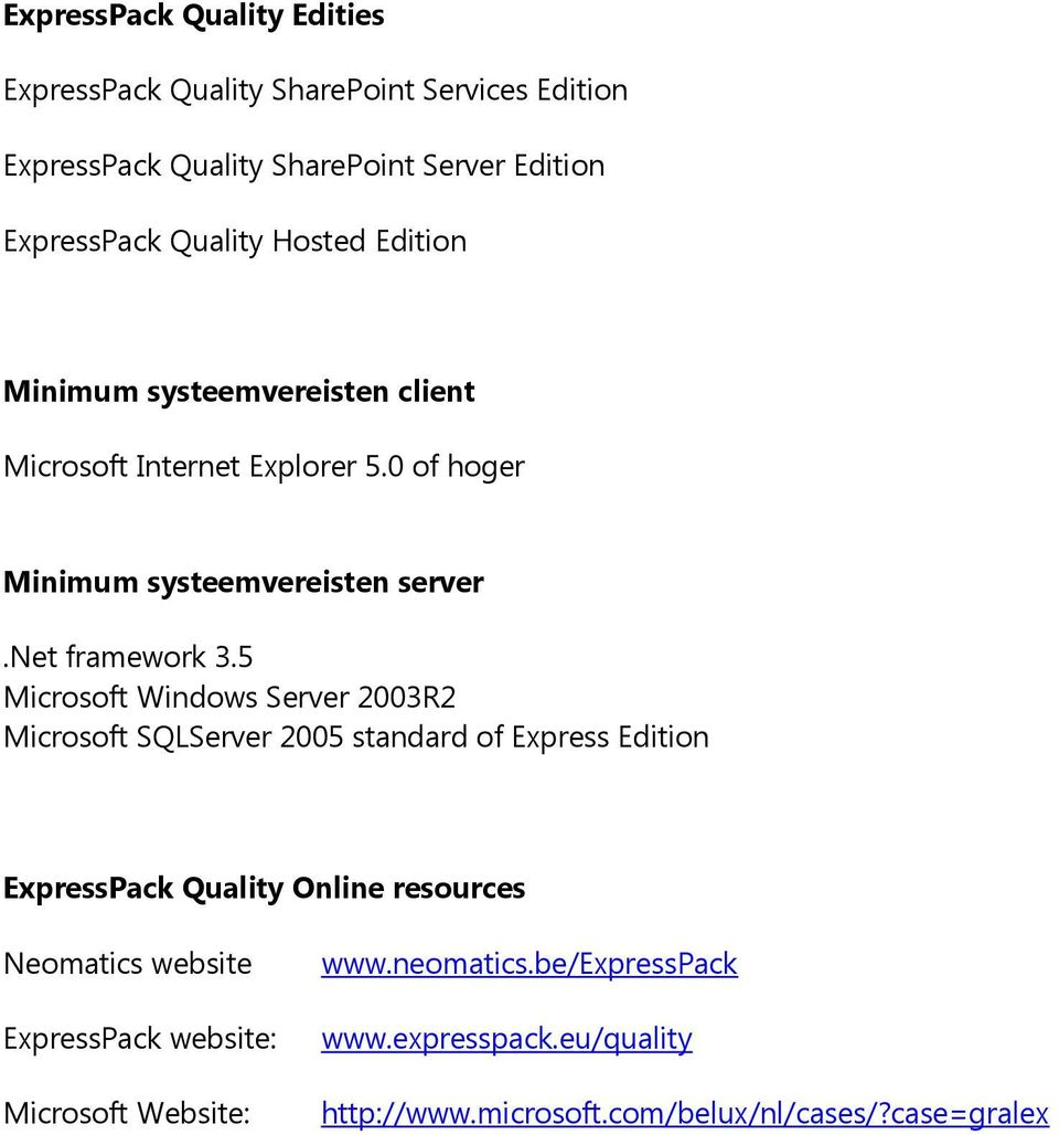 5 Microsoft Windows Server 2003R2 Microsoft SQLServer 2005 standard of Express Edition ExpressPack Quality Online resources Neomatics website