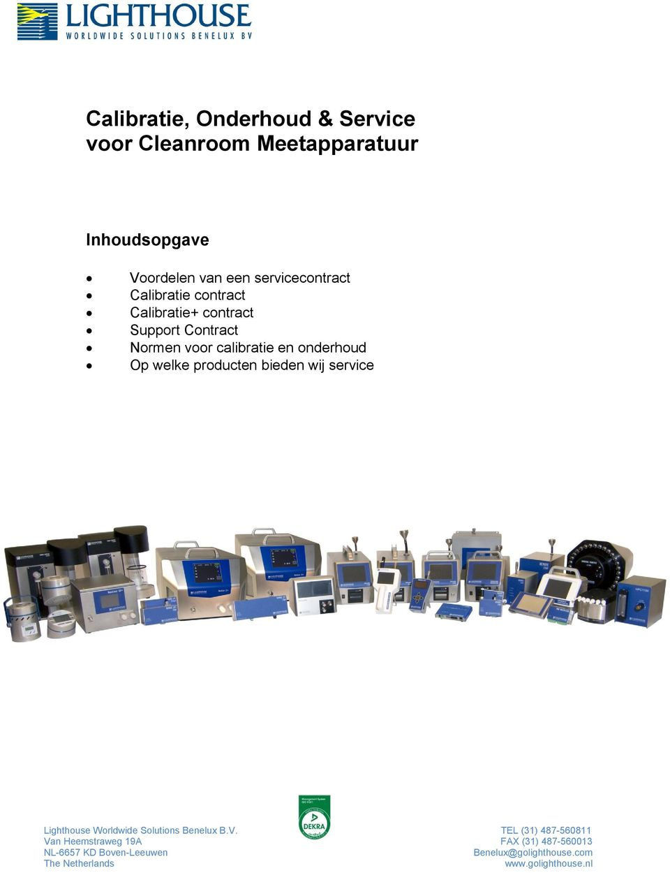 servicecontract Calibratie contract Calibratie+ contract