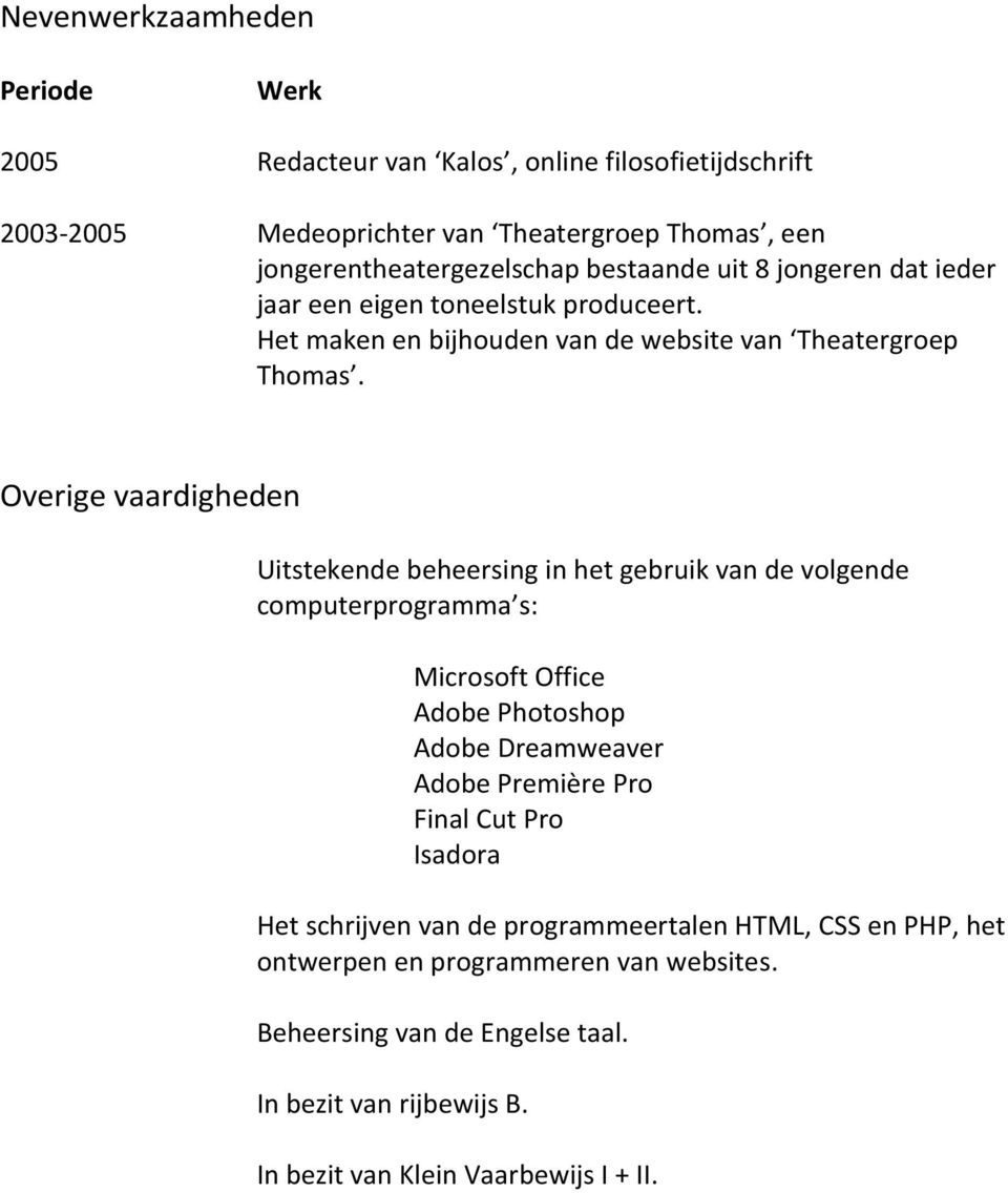 Overige vaardigheden Uitstekende beheersing in het gebruik van de volgende computerprogramma s: Microsoft Office Adobe Photoshop Adobe Dreamweaver Adobe Première Pro
