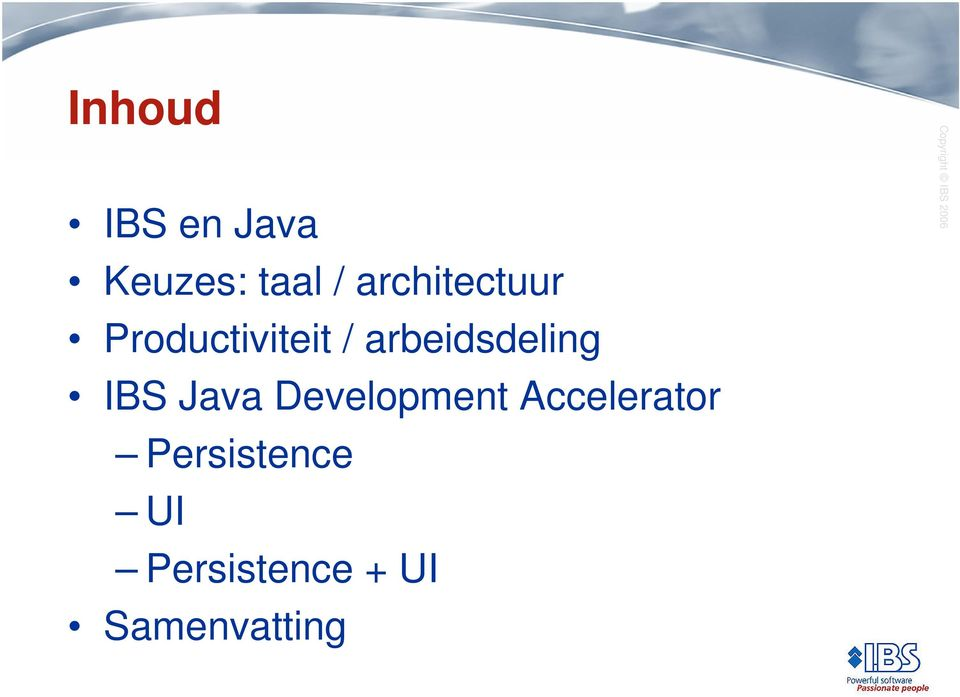 arbeidsdeling IBS Java Development