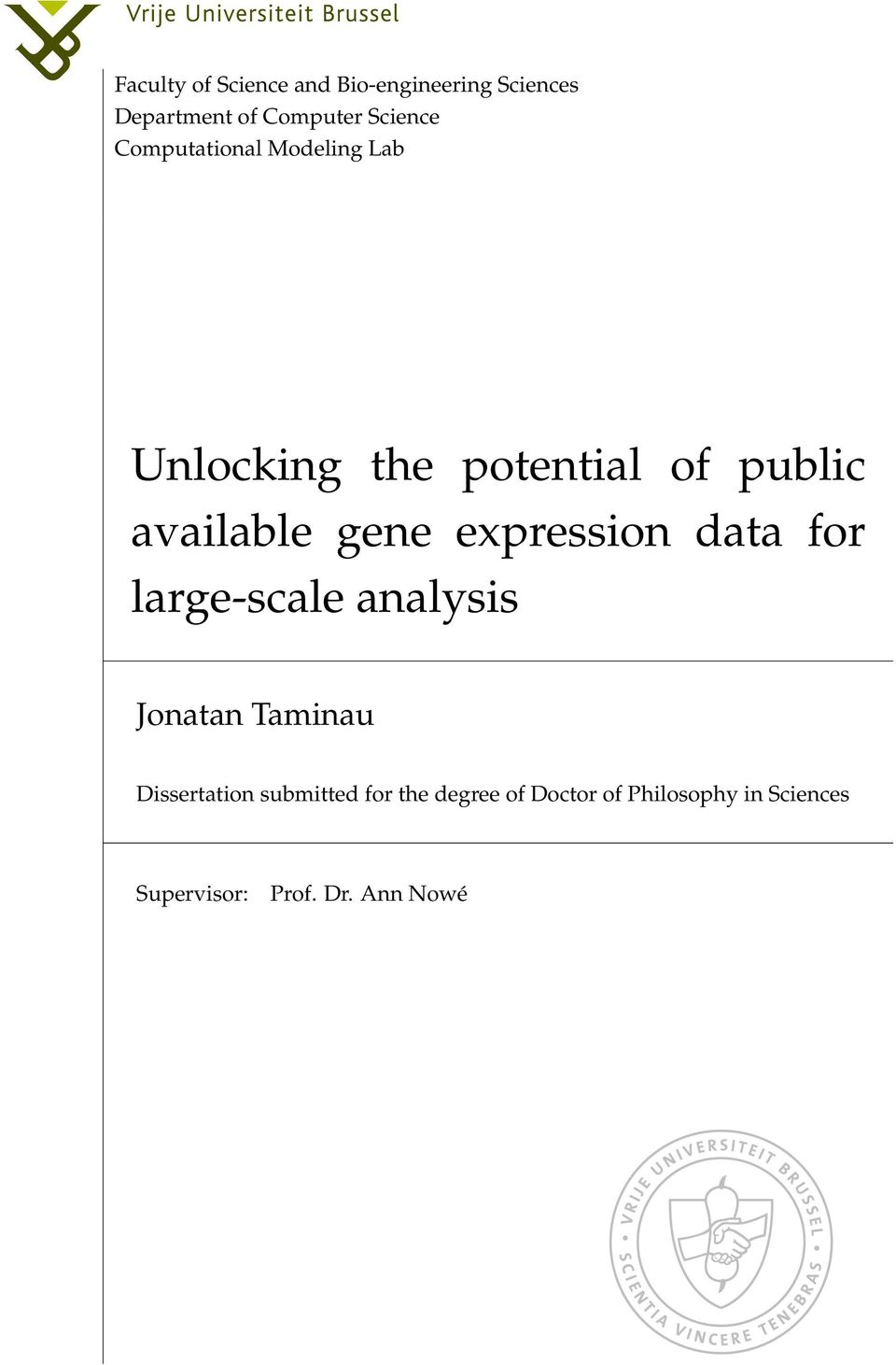 expression data for large-scale analysis Jonatan Taminau Dissertation