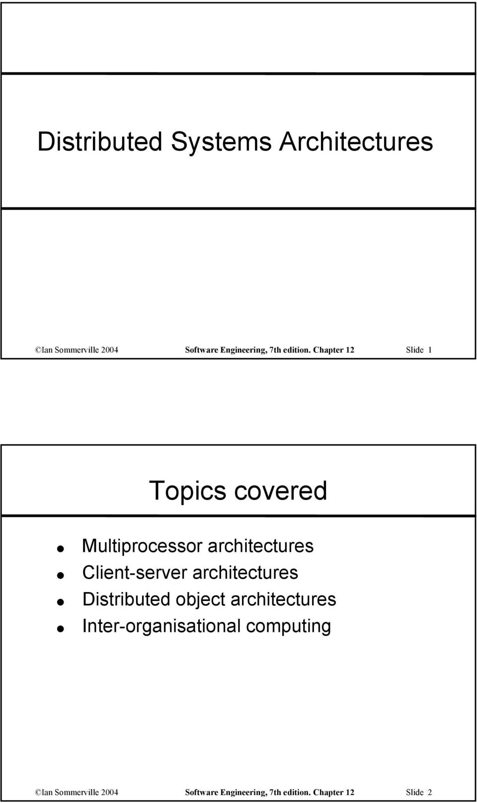 Chapter 12 Slide 1 Topics covered Multiprocessor architectures Client-server