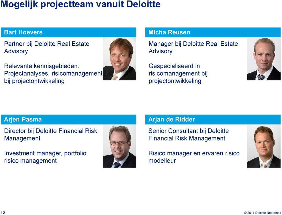 in risicomanagement bij projectontwikkeling Arjen Pasma Director bij Deloitte Financial Risk Management Investment manager,