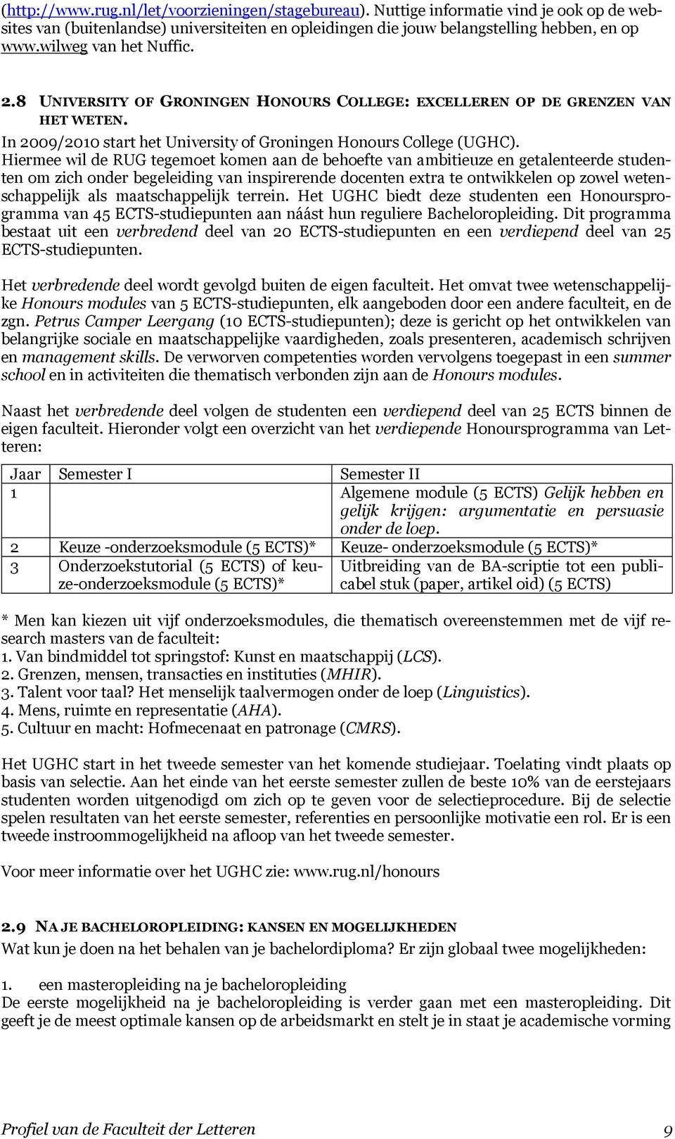 In 2009/2010 start het University of Groningen Honours College (UGHC).