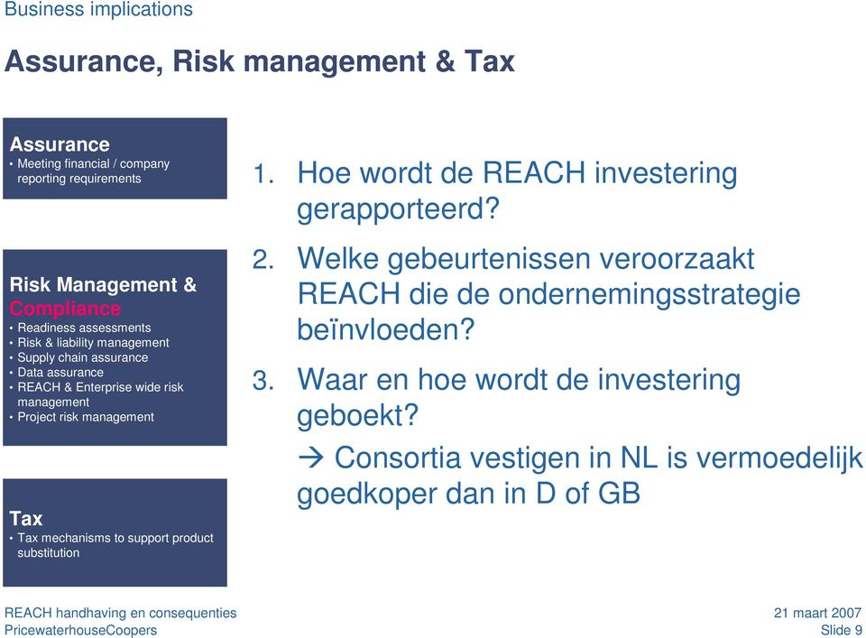 management Tax Tax mechanisms to support product substitution 1. Hoe wordt de REACH investering gerapporteerd? 2.
