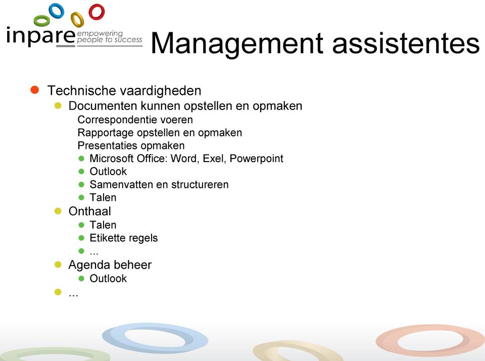 Presentaties opmaken Microsoft Office: Word, Exel, Powerpoint Outlook