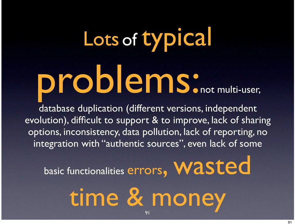 options, inconsistency, data pollution, lack of reporting, no integration with