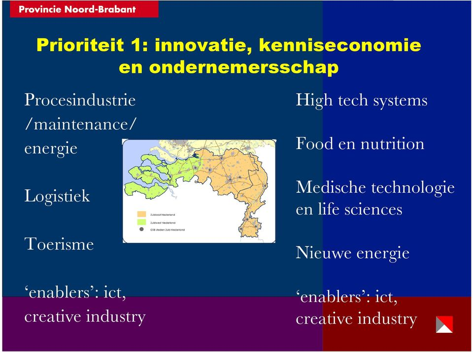 ict, creative industry High tech systems Food en nutrition Medische