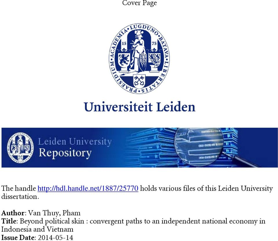 net/1887/25770 holds various files of this Leiden University