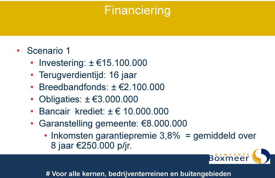 000 Obligaties: ± 3.000.000 Bancair krediet: ± 10.000.000 Garanstelling gemeente: 8.