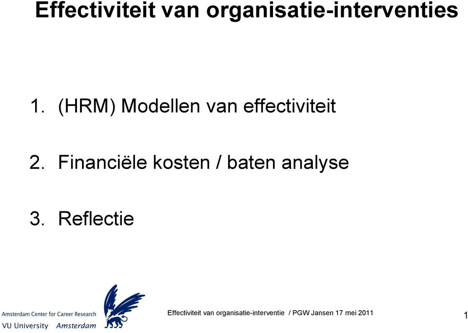 (HRM) Modellen van effectiviteit