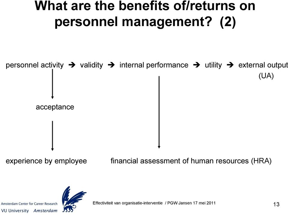 (2) personnel activity validity internal performance