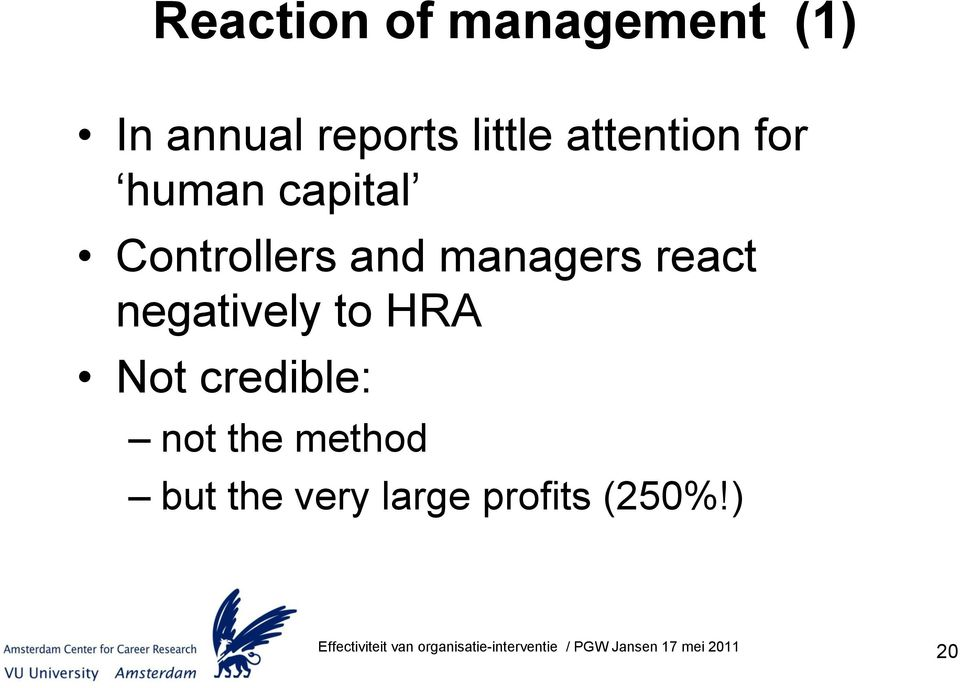 and managers react negatively to HRA Not