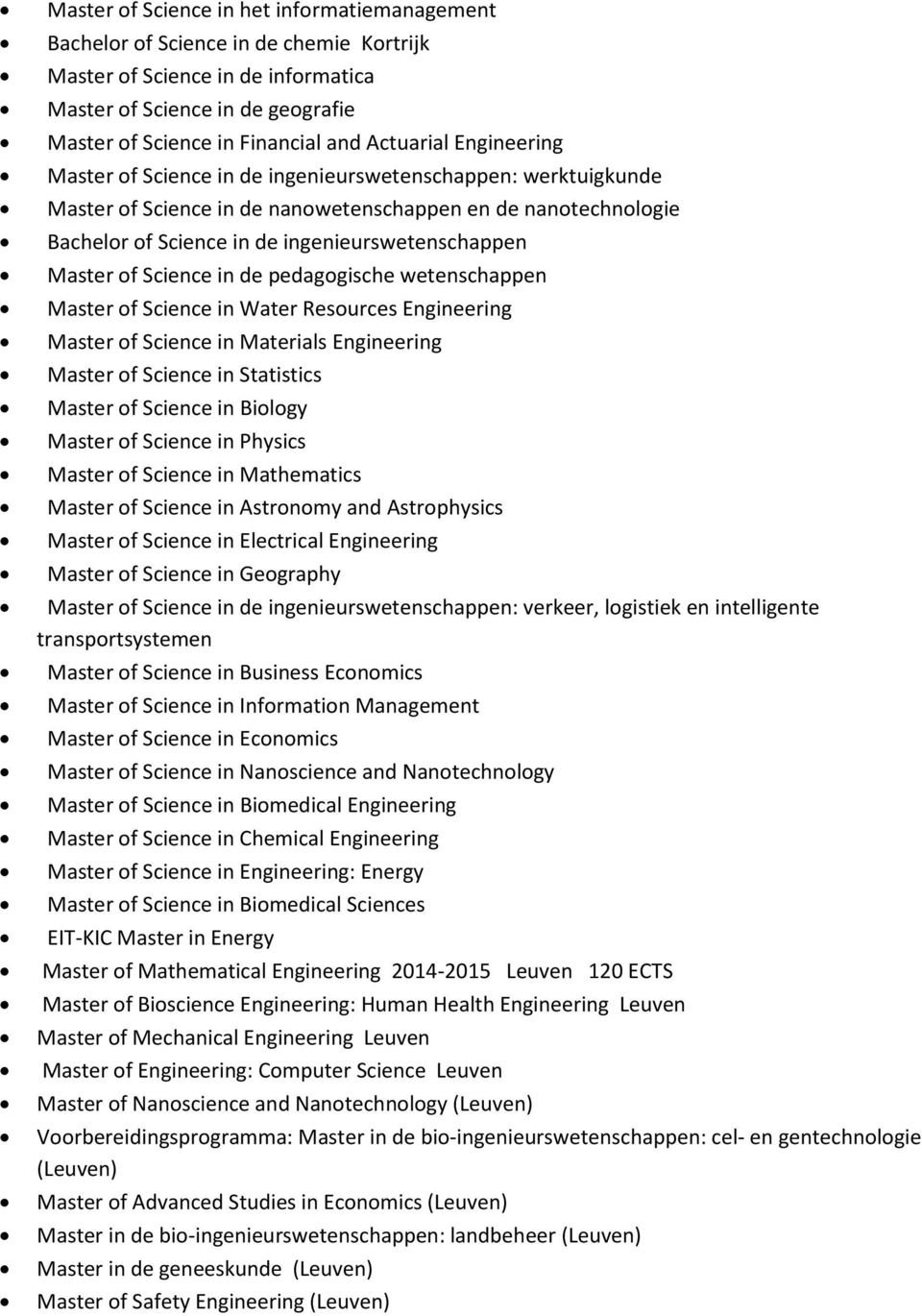 Master of Science in de pedagogische wetenschappen Master of Science in Water Resources Engineering Master of Science in Materials Engineering Master of Science in Statistics Master of Science in
