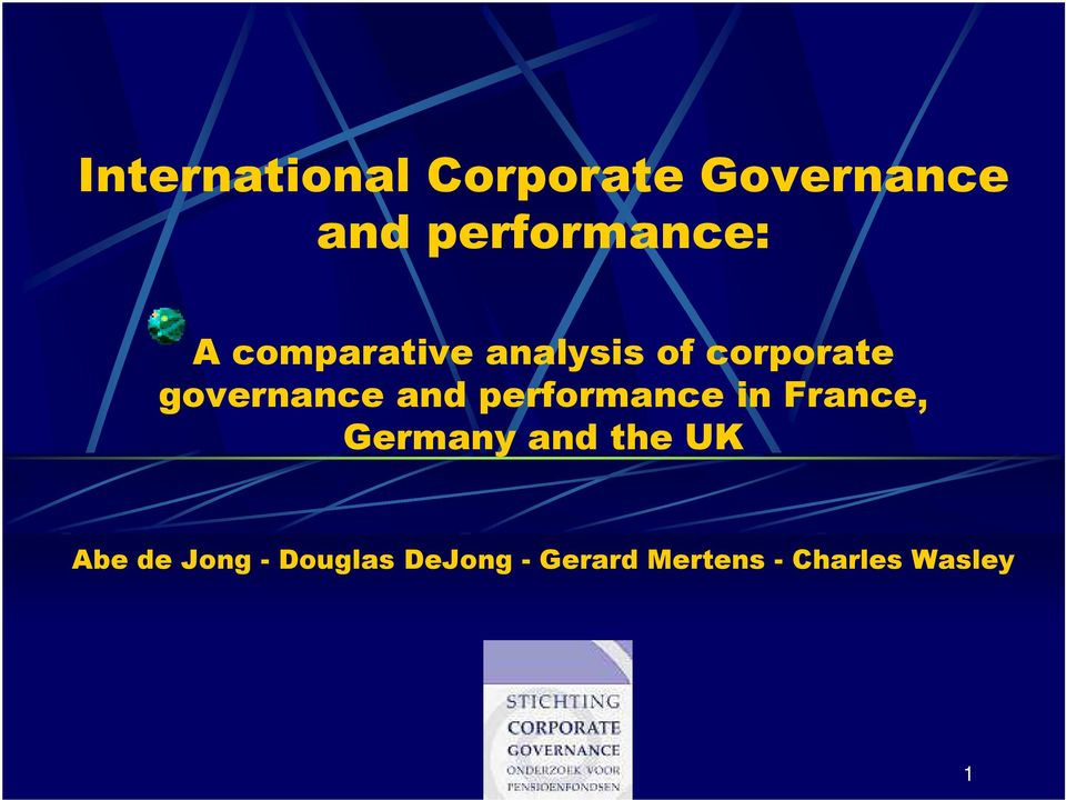 performance in France, Germany and the UK Abe de