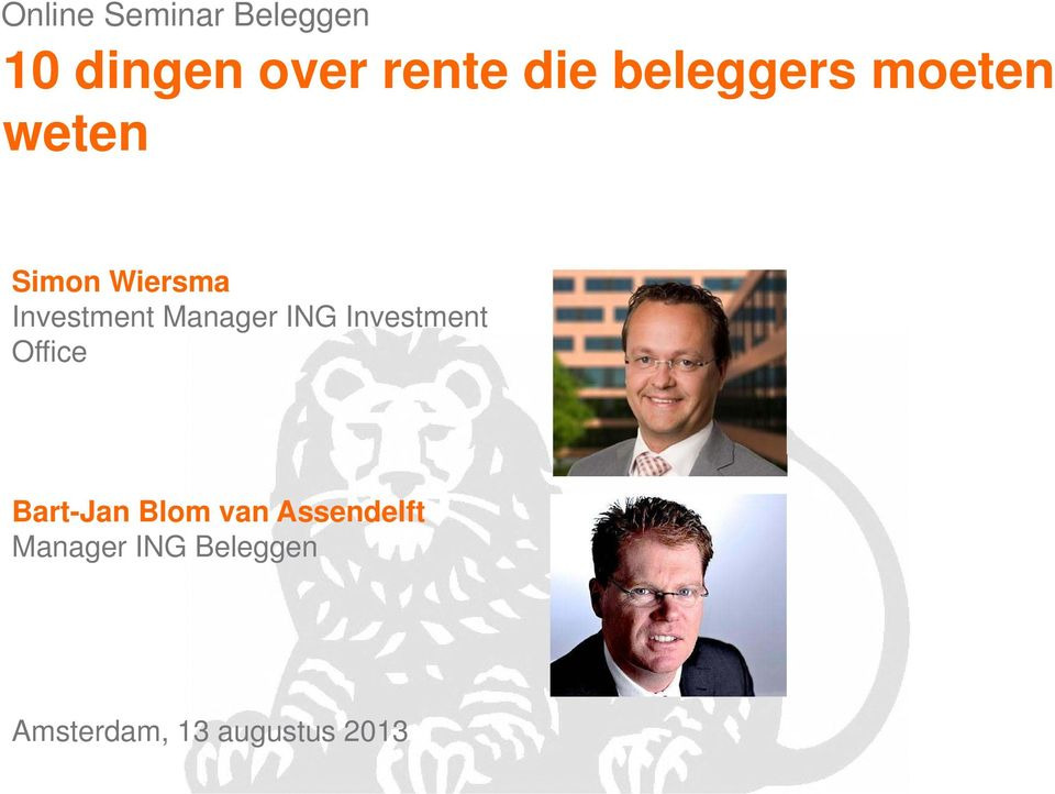 Manager ING Investment Office Bart-Jan Blom van