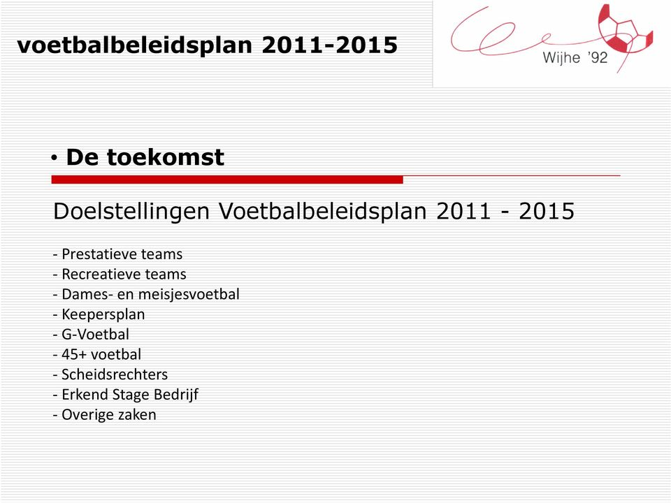 teams - Recreatieve teams - Dames- en meisjesvoetbal - Keepersplan