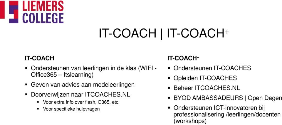 Voor specifieke hulpvragen IT-COACH + Ondersteunen IT-COACHES Opleiden IT-COACHES Beheer ITCOACHES.
