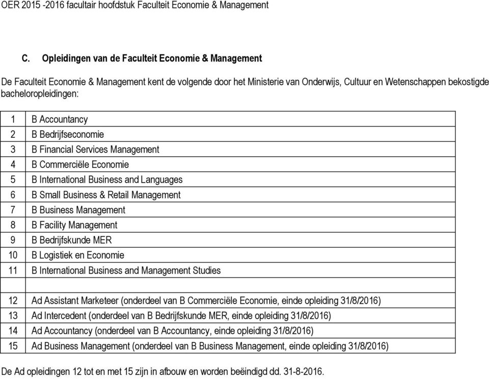 B Facility Management 9 B Bedrijfskunde MER 10 B Logistiek en Economie 11 B International Business and Management Studies 12 Ad Assistant Marketeer (onderdeel van B Commerciële Economie, einde