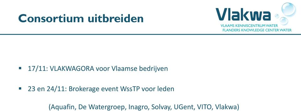 Brokerage event WssTP voor leden (Aquafin,