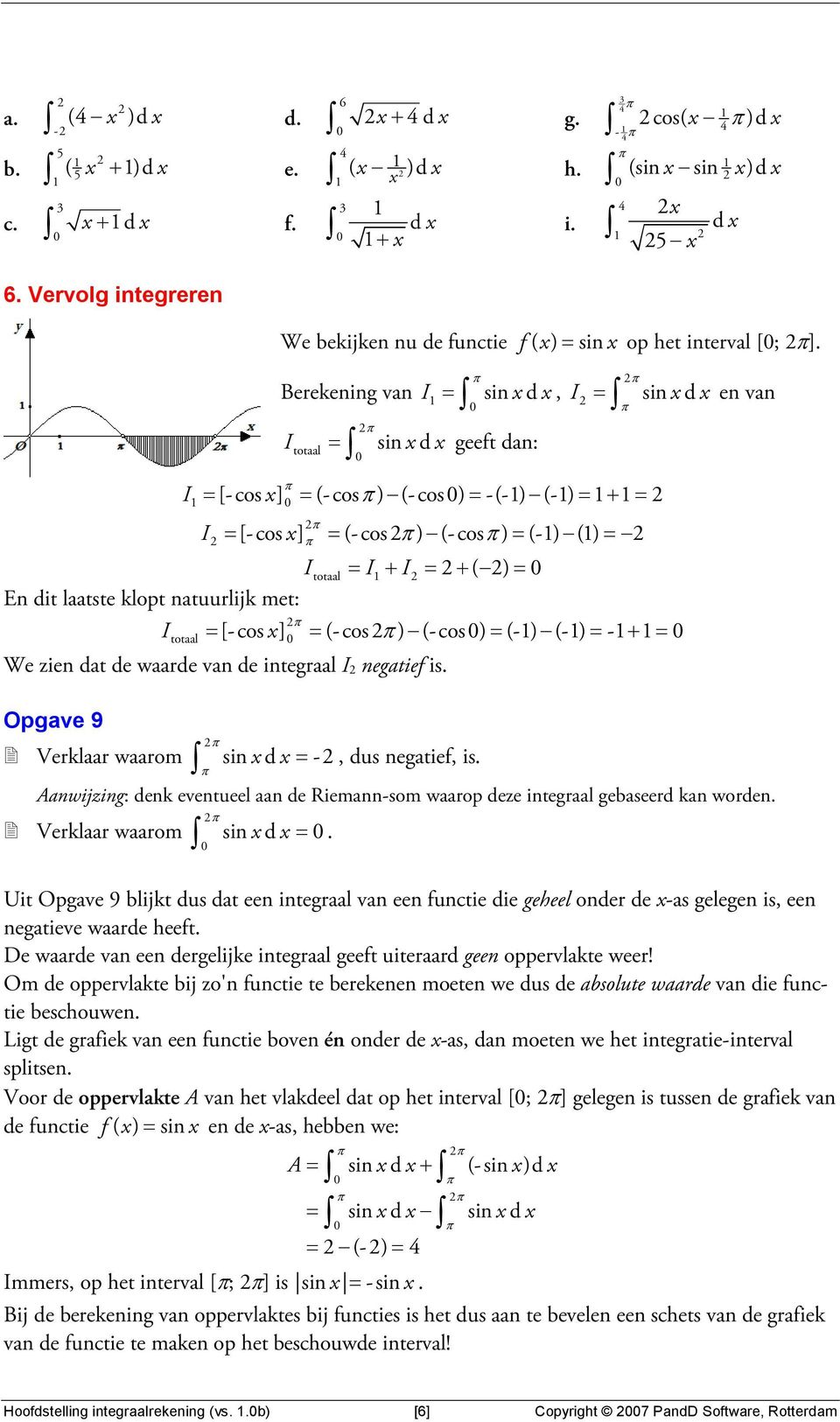 ntuurlijk met: totl I = [-cos ] = (-cos ) (-cos) = (-) (-) = -+ = We zien dt de wrde vn de integrl I negtief is. Opgve 9 Verklr wrom sin d = -, dus negtief, is.