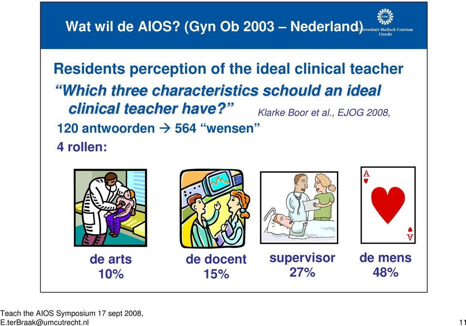 Which three characteristics schould an ideal clinical teacher have?