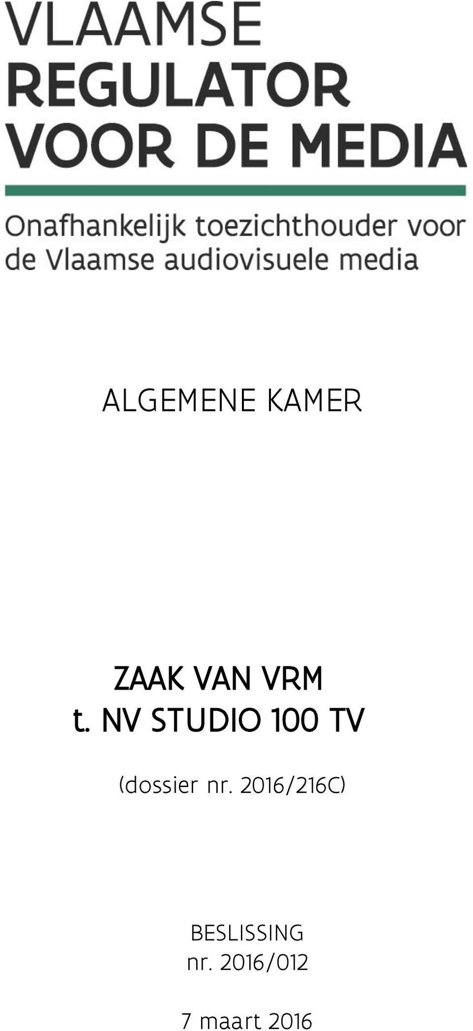 NV STUDIO 100 TV (dossier