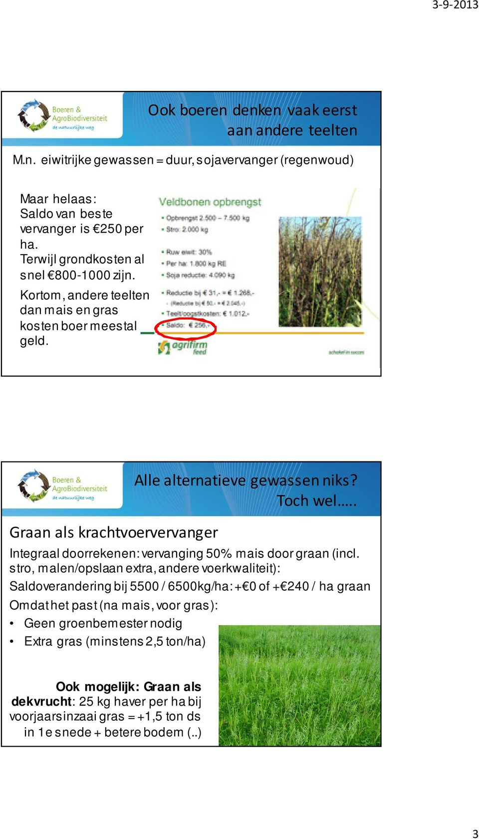 . Integraal doorrekenen: vervanging 50% mais door graan (incl.
